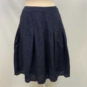 GAP Navy A-Line Pleated Flowy Cotton Lined Skirt